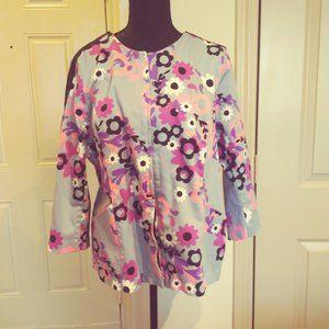 Bob Mackie zip up floral jacket size L